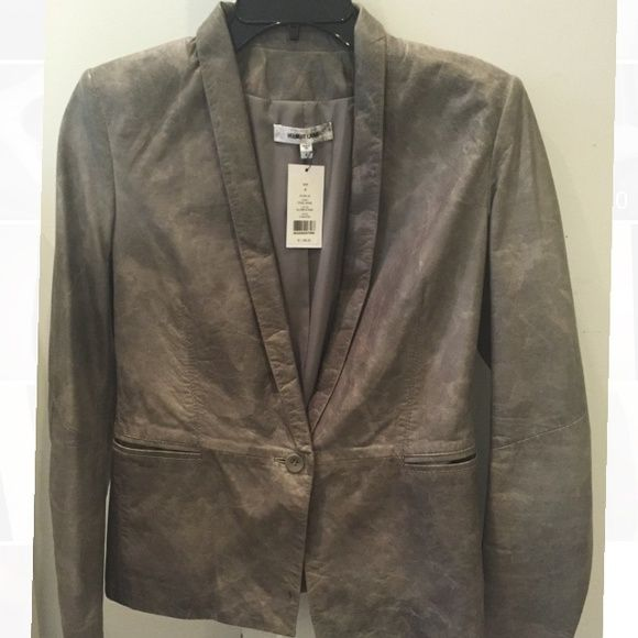 Helmut Lang Grey leather blazer BRAND NEW. Never worn! Helmut Lang leather blazer. 100% lamb leather. Grey size 4 Helmut Lang Jackets & Coats Blazers