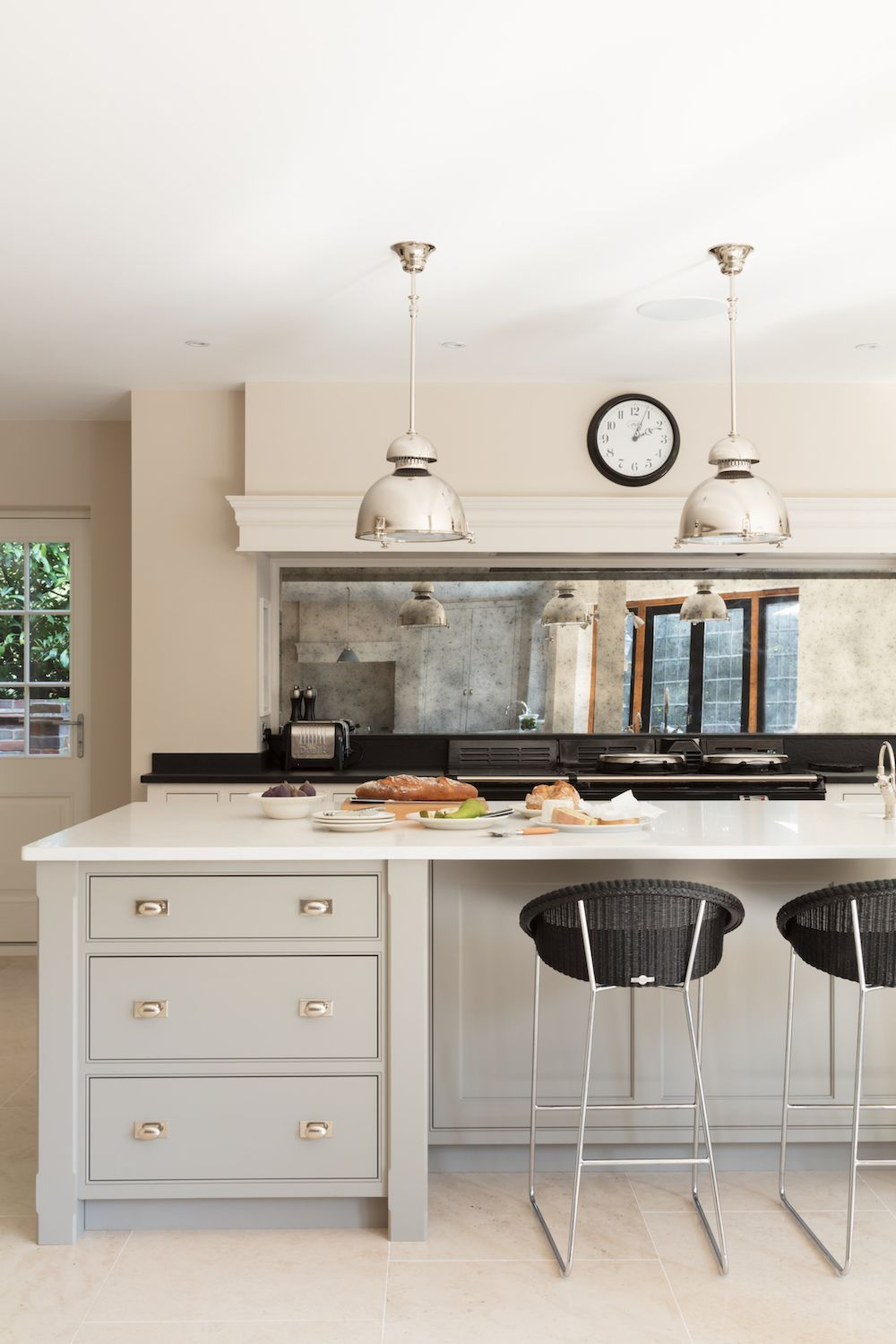 Large kitchen island in front of the