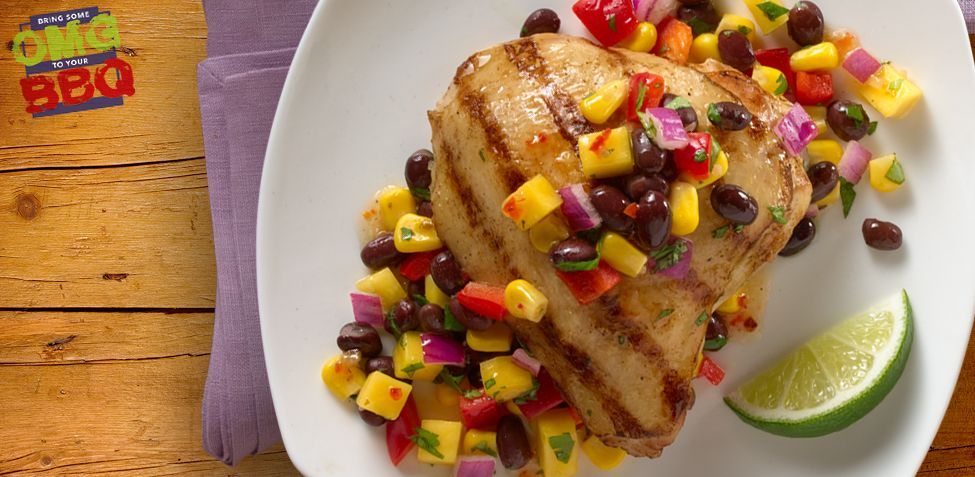 Grilled adobo chicken with black bean and mango salsa