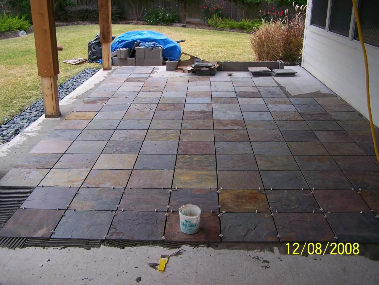 outdoor patio flooring options trim paint and new flooring patio tile install slate patio in progress - Patio Flooring