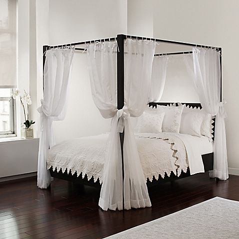 Tie Sheer Bed Canopy Curtain Set In White Canopy Bed Curtains Bed Curtains Canopy Bed