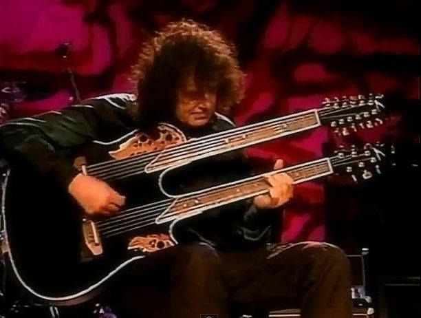 Jimmy Page And His Ovation Double Neck Acoustic Guitar During The Page And Plant Tour In The 90s Ovation Guitar Guitar Led Zeppelin