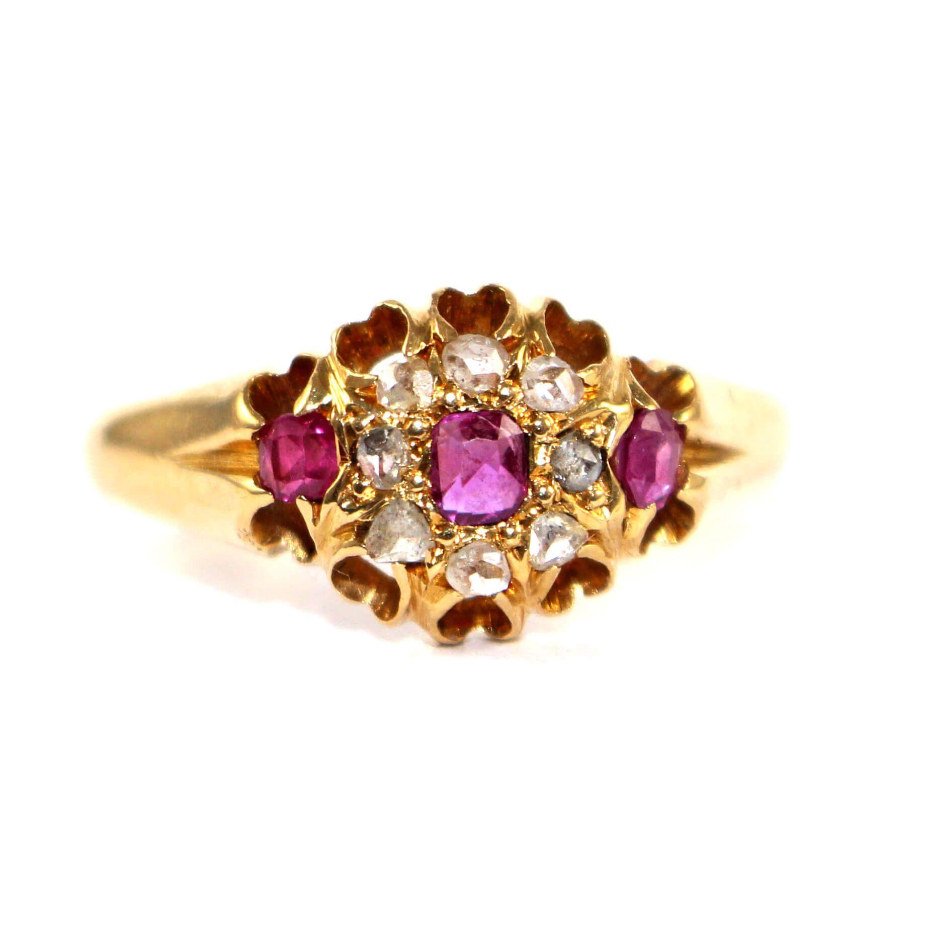 Victorian Ruby & Diamond Cluster Ring c.1900 Thomas