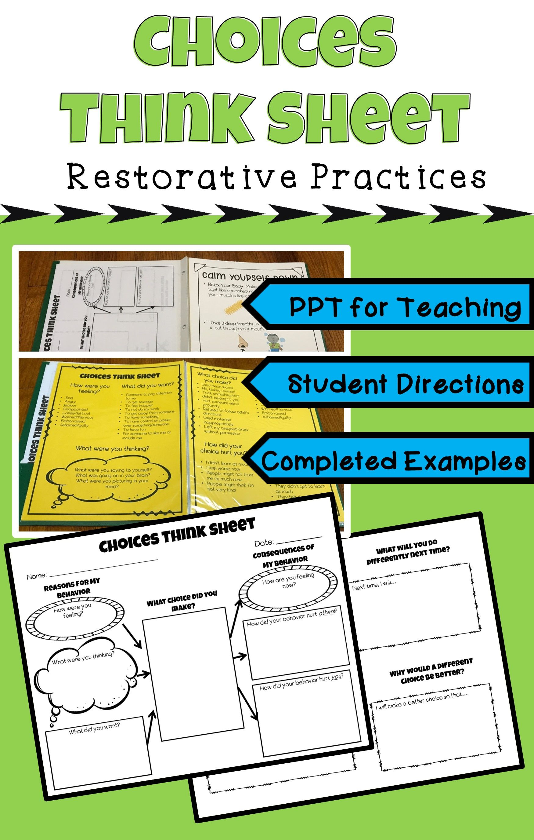 Restorative Practices Behavior Reflection Think Sheets
