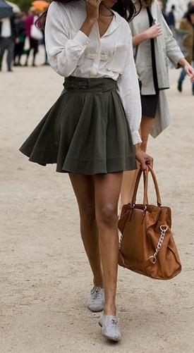 White buttonup with an A-line skirt helps with a pear shape women ...