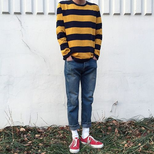 Character: Jay. The jeans are old, and too short for him now. The sweater was Atticus's. He hides his hands in his pockets when he's scared. He's standing in his parents' backyard, talking to his mother. She's clearly mad that he left. (6)
