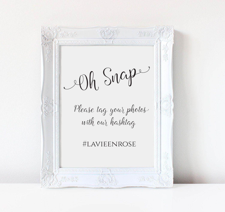 Wedding Hashtag sign, Oh Snap custom sign/ Sign DIY