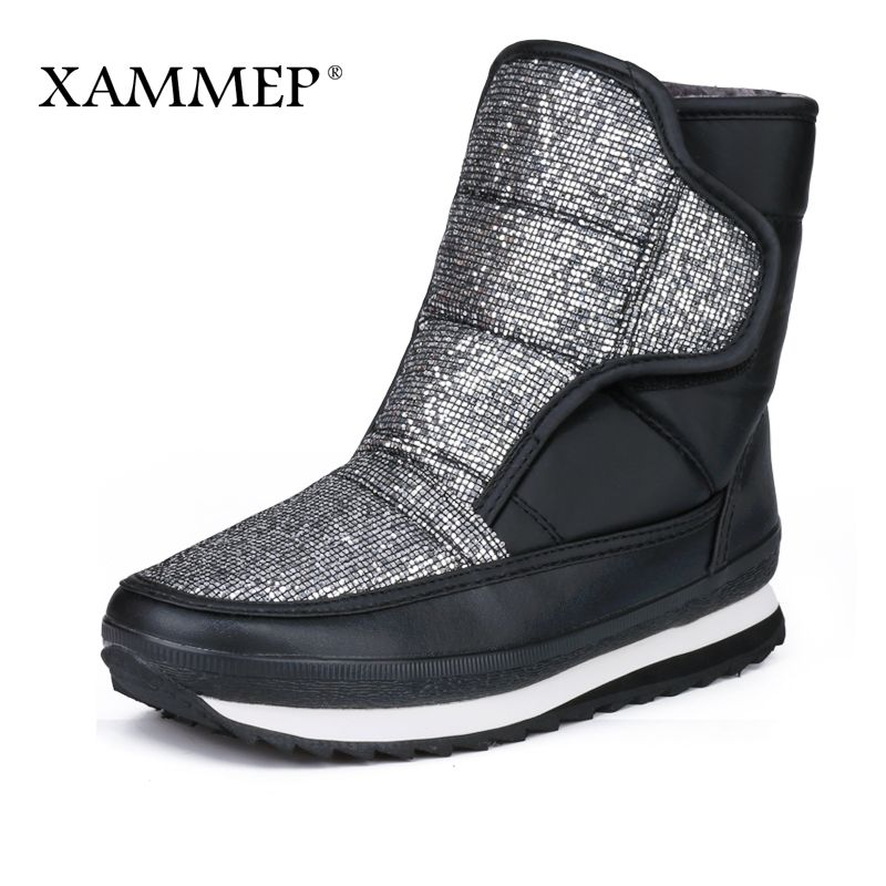 c764f4862 Xammep женские зимняя обувь большой Размеры высокое качество Брендовая  женская обувь Плюшевые и шерсти warmful женские