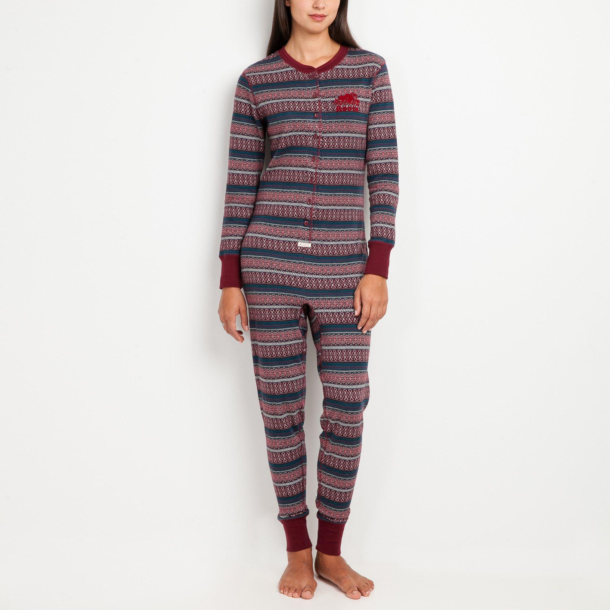 Womens Fair Isle Long Johns Roots Sleepwear for Women