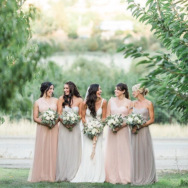Pink and Gray Bridesmaid Dresses