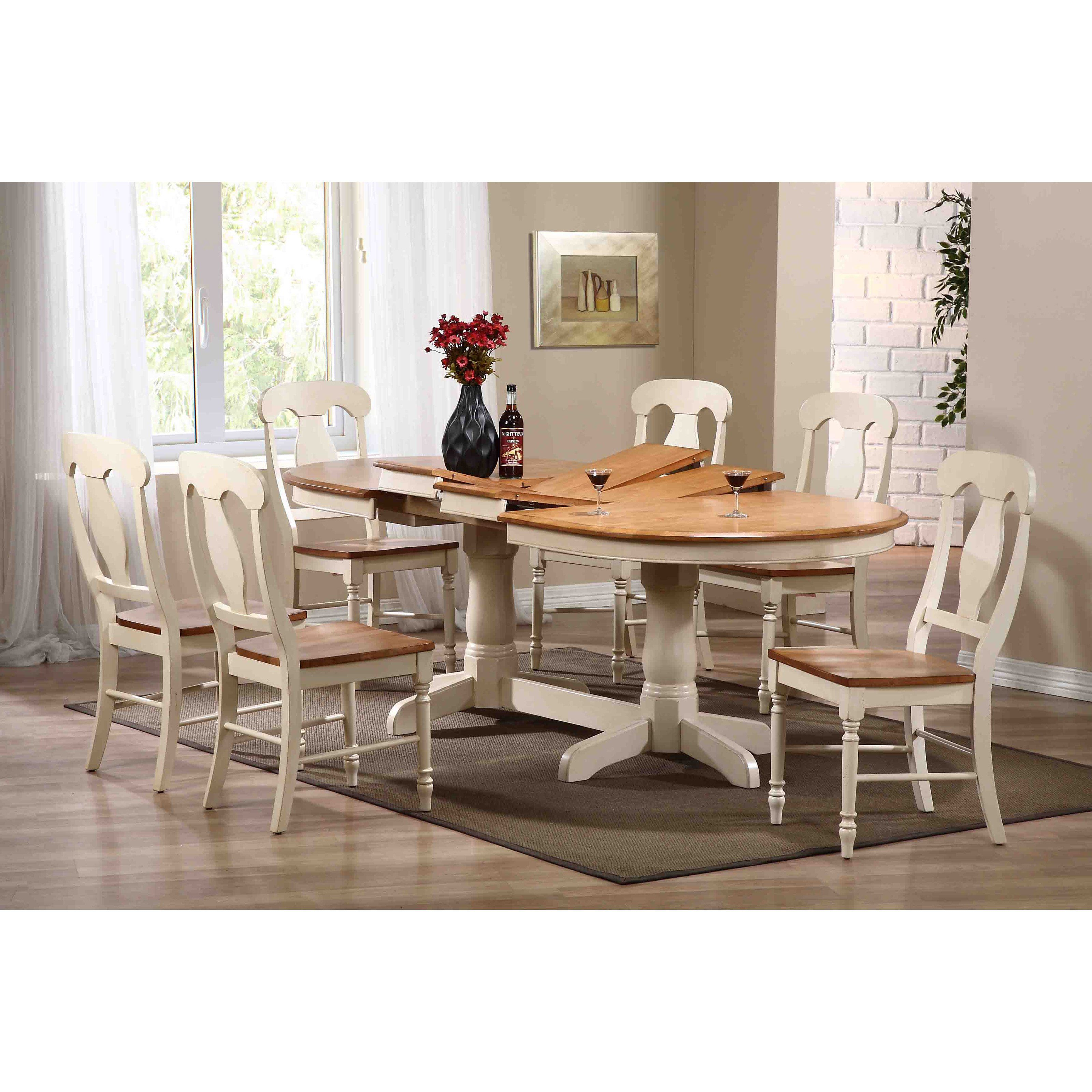 Iconic Furniture 7 Piece Oval Dining Table Set  Caramel Interesting Oval Dining Room Table Set Design Decoration