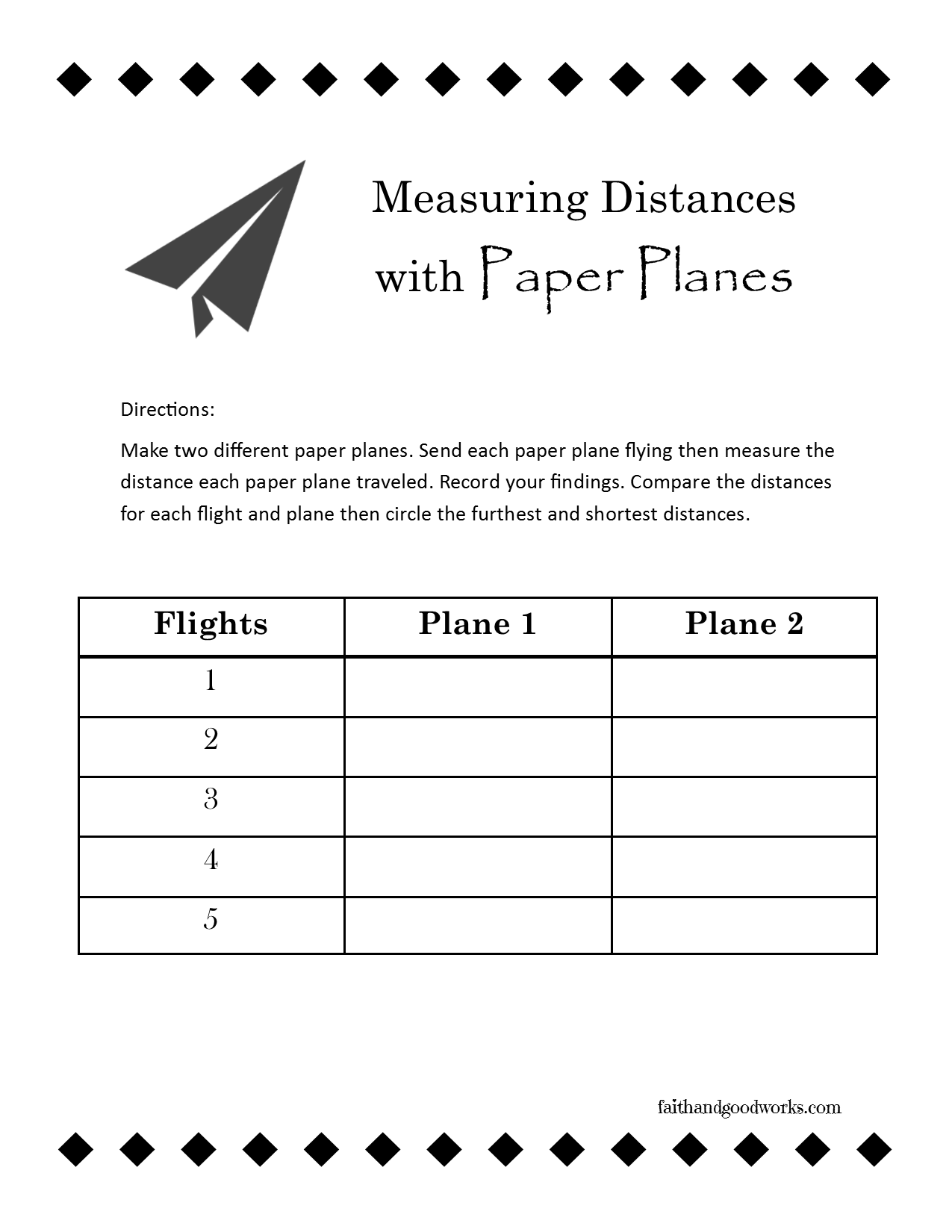 fun with paper planes use this free printable worksheet for measuring distance with paper. Black Bedroom Furniture Sets. Home Design Ideas