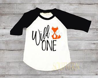 Fox Wild One Birthday Shirt 1 1st Raglan First BirthdayBirthday Outfit