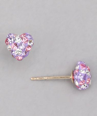 9309fb728 This site has tons of cute outfits and jewelry for Easter! Pink Crystal  Heart 10k Gold Stud Earrings by Easter Boutique on #zulily today! $22