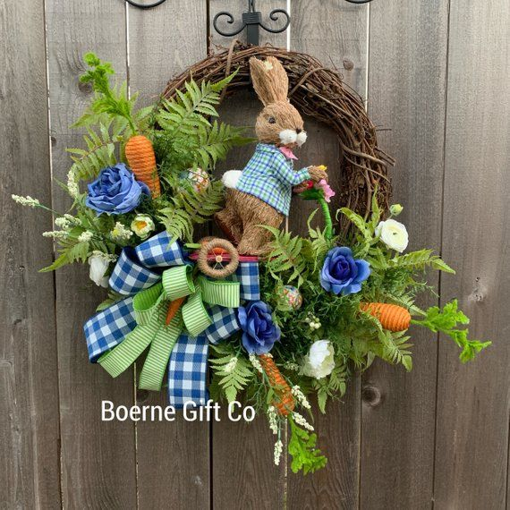 Photo of Easter wreath, bunny wreath, peter cotton tail, easter egg wreath, sisal bunny, spring wreath, easter decor, home decor, front door decor