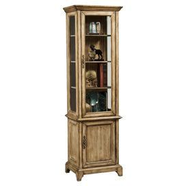 "Display cabinet with one glass door and three interior shelves. Product: Display cabinetConstruction Material: Wood and glassColor: Distressed ivoryFeatures: Slightly flared feetOne door and three adjustable shelvesDimensions: 72"" H x 21"" W x 16"" D Note: Assembly required, hardware included"