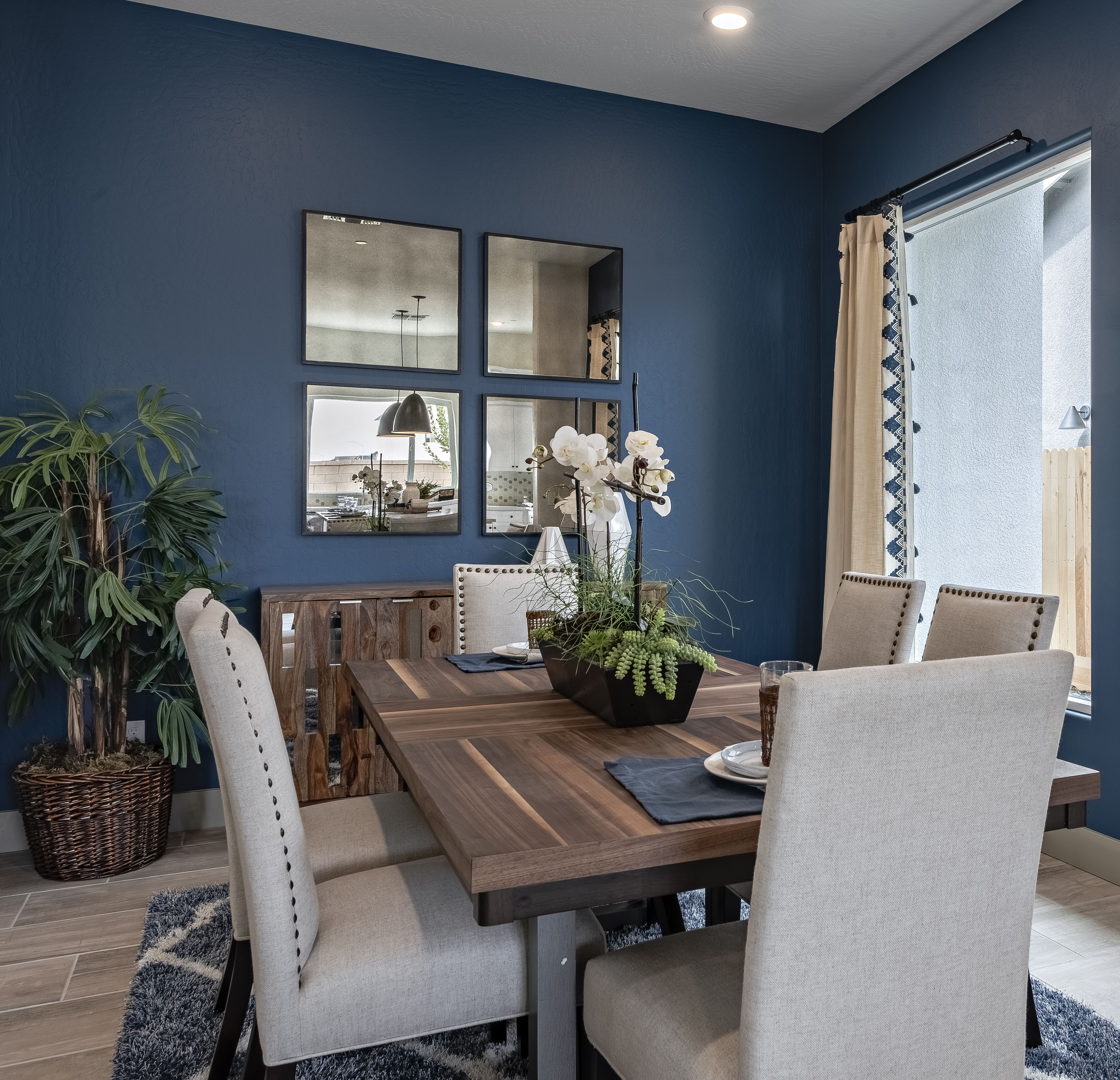 Navy Blue Dining Room Space Cream And Wood Dining Room Set
