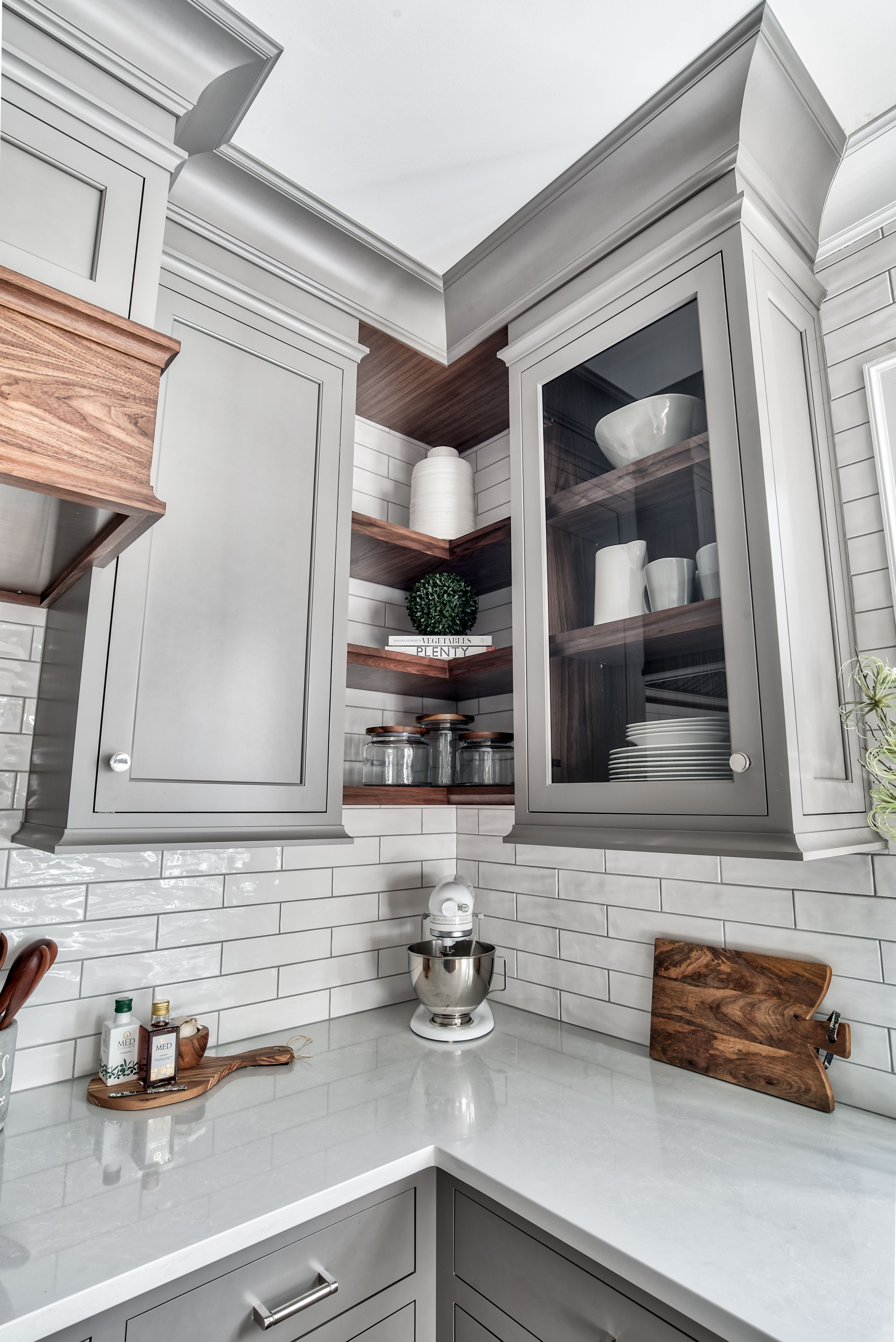 Custom Gray Cabinetry With Natural Walnut Floating Shelves Glass
