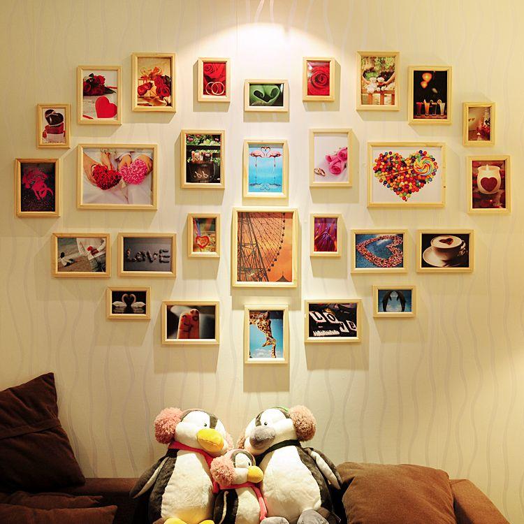 AI Mei Jia Super warm 28 box heart shaped photo creative photo wall ...