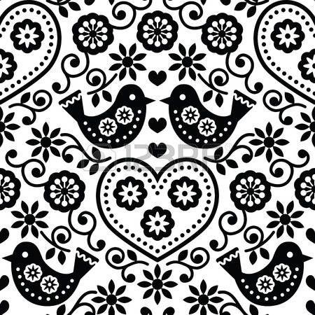 folk art birds: Folk art seamless monochrome pattern with flowers and birds