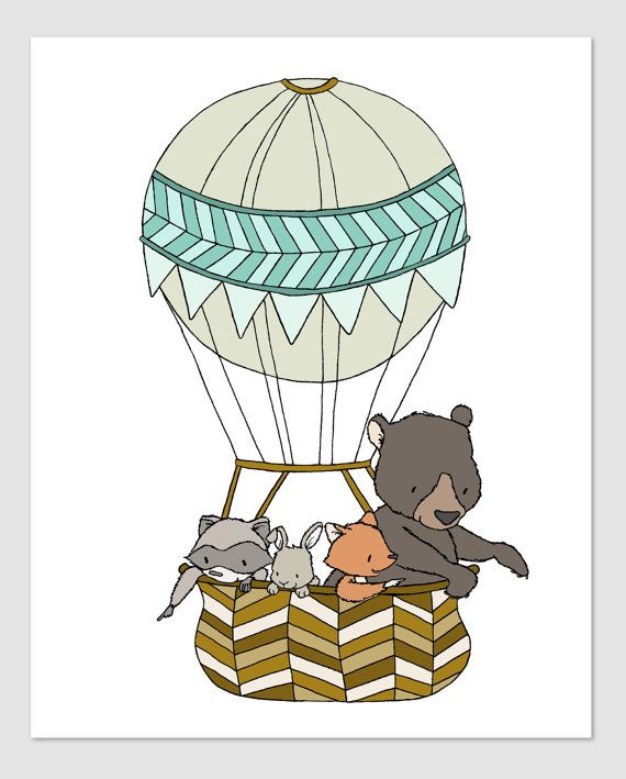 Woodland Nursery Art -- Up Up and Away -- Woodland Friends Hot Air ...