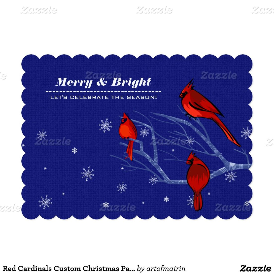 Merry and Bright. Celebrate the Season. Red Cardinals design Customizable Christmas Holiday Party Invitations. Matching cards, postage stamps and other products available in the Christmas & New Year Category of the artofmairin store at zazzle.com