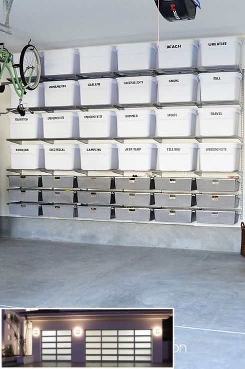create a garage storage system on the ceiling of your garage rh pinterest com