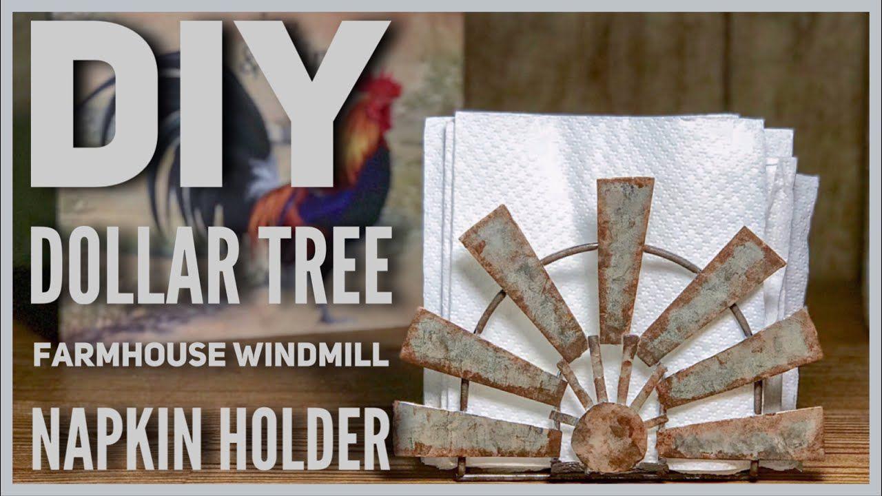 Diy dollar tree farmhouse windmill napkin holder budget