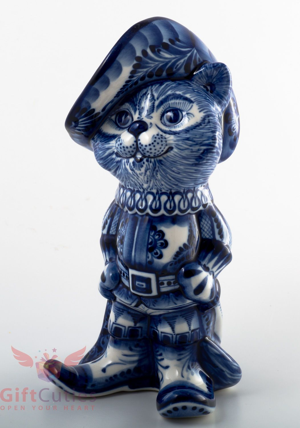 Puss in Boots cat Collectible Gzhel Porcelain Figurine hand-painted