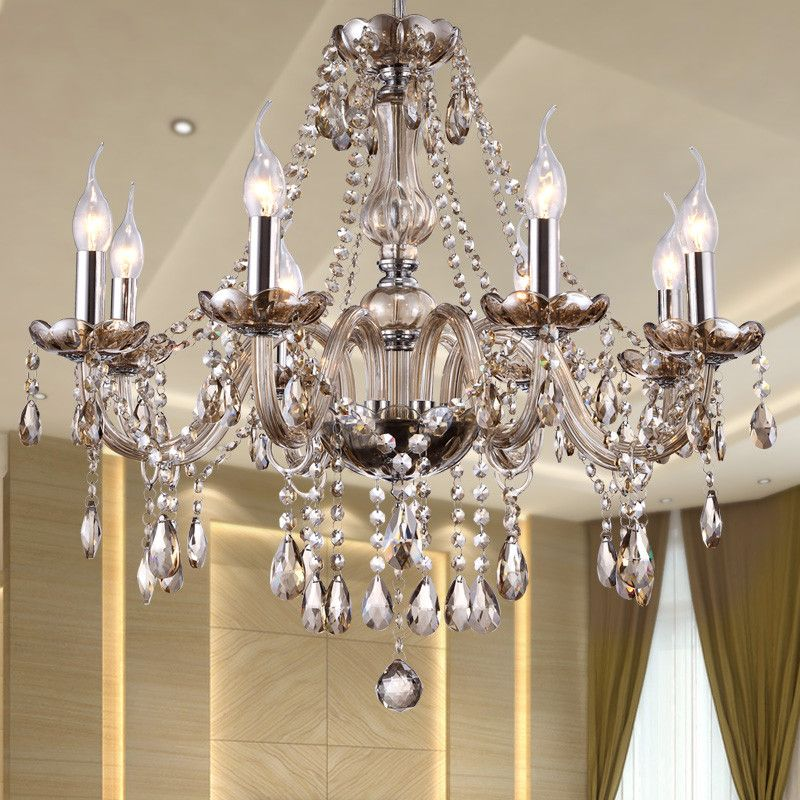 Modern Crystal Chandelier Lighting Luxury Cognac Glass