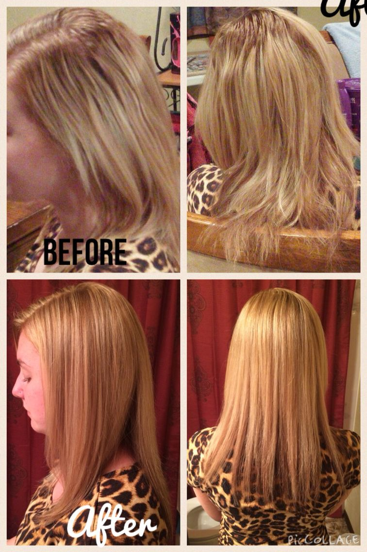 Transformation Grown out roots to beautiful blonde hair