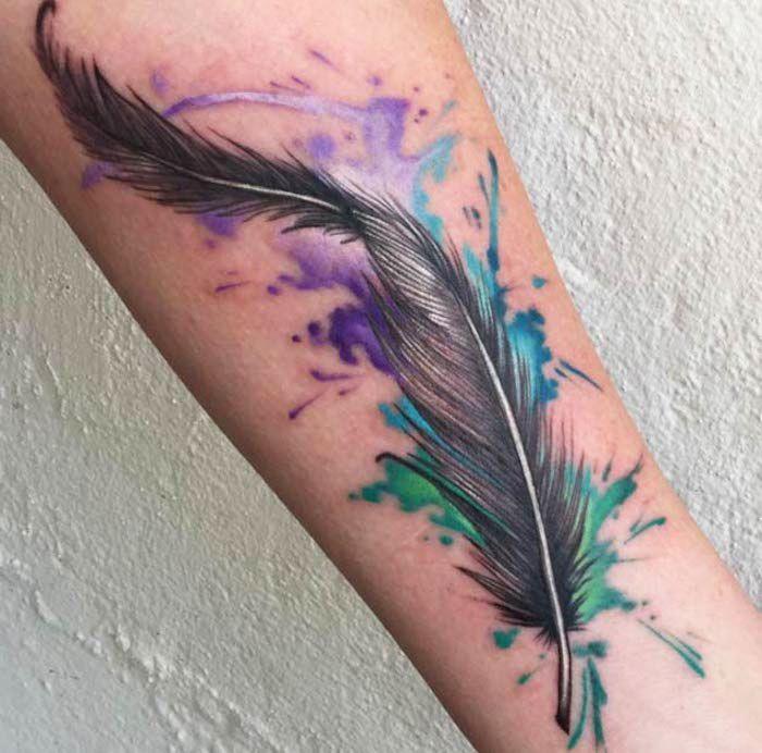1001 ideen und inspirationen f r ein cooles feder tattoo art pinterest. Black Bedroom Furniture Sets. Home Design Ideas