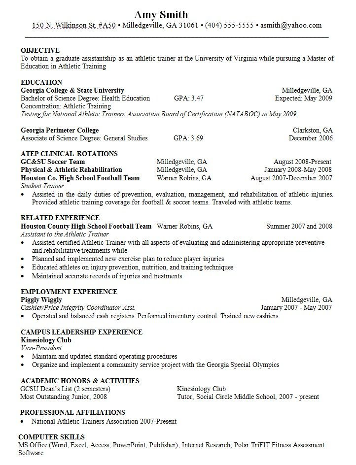 Objective For Resume Athletic Trainer Resumesdesign Athletic Training Resume Skills Resume Skills List