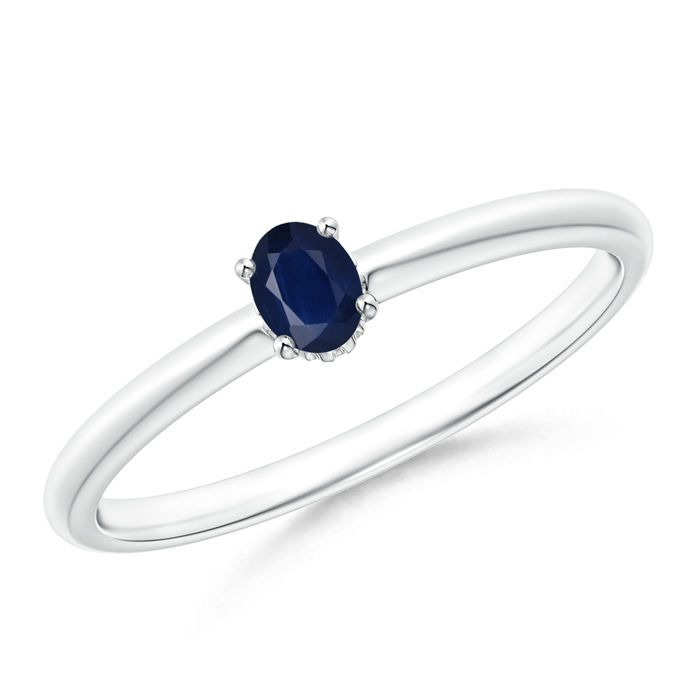 Angara Solitaire Round Blue Sapphire Promise Ring with Diamond in White Gold mgILn