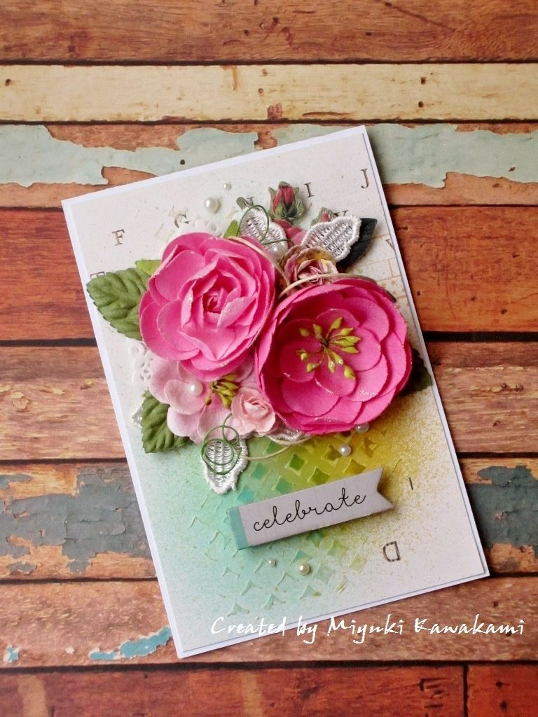 Celebrate card scrapbook premade floral embellishments make