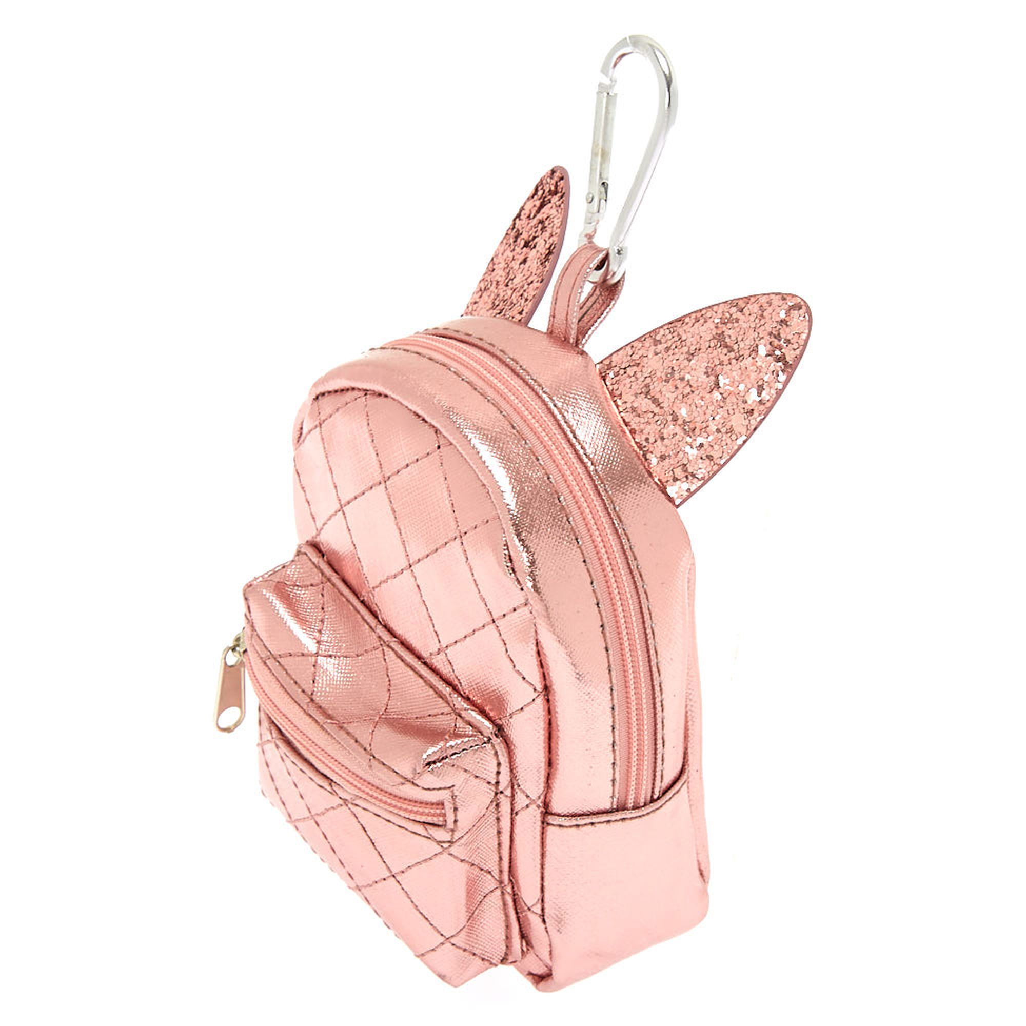 Claire's Metallic Cat Ears Mini Backpack Keychain Pink