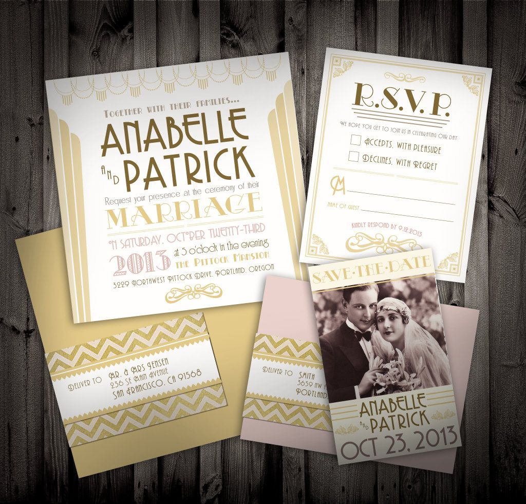 movie ticket stub wedding invitation%0A Great Gatsby Art Deco Themed Wedding Invitations and Save the Date QTY