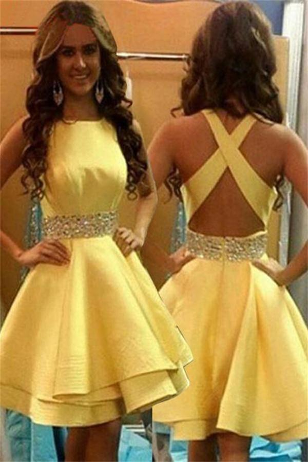 ad57815a9d1 Beauty Yellow Simple Open Back Short A-line Homecoming Dresses Z1271 ...