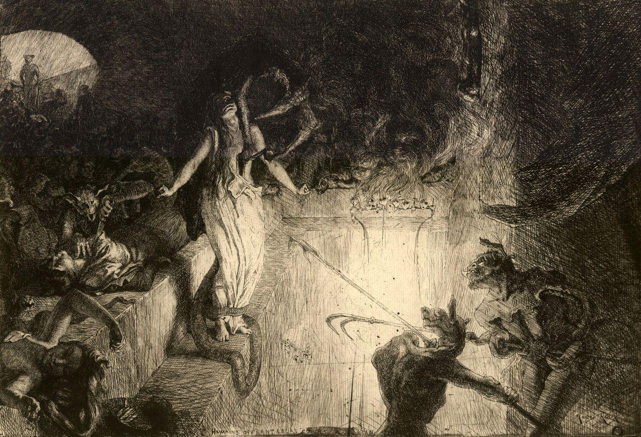 Humains offrant leurs coeurs à Satan (1904 Etching / Engraving) - Marcel Roux