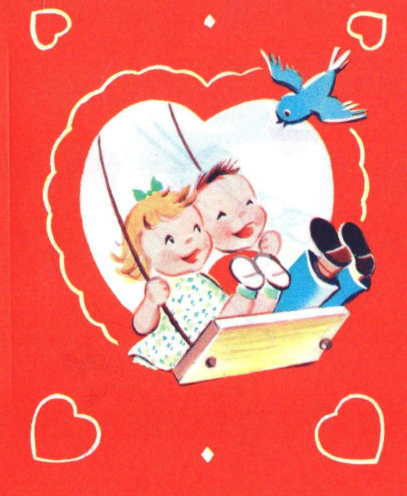 Vintg Valentine Greeting Card Cute Girl Boy On Swing Smile At Blue