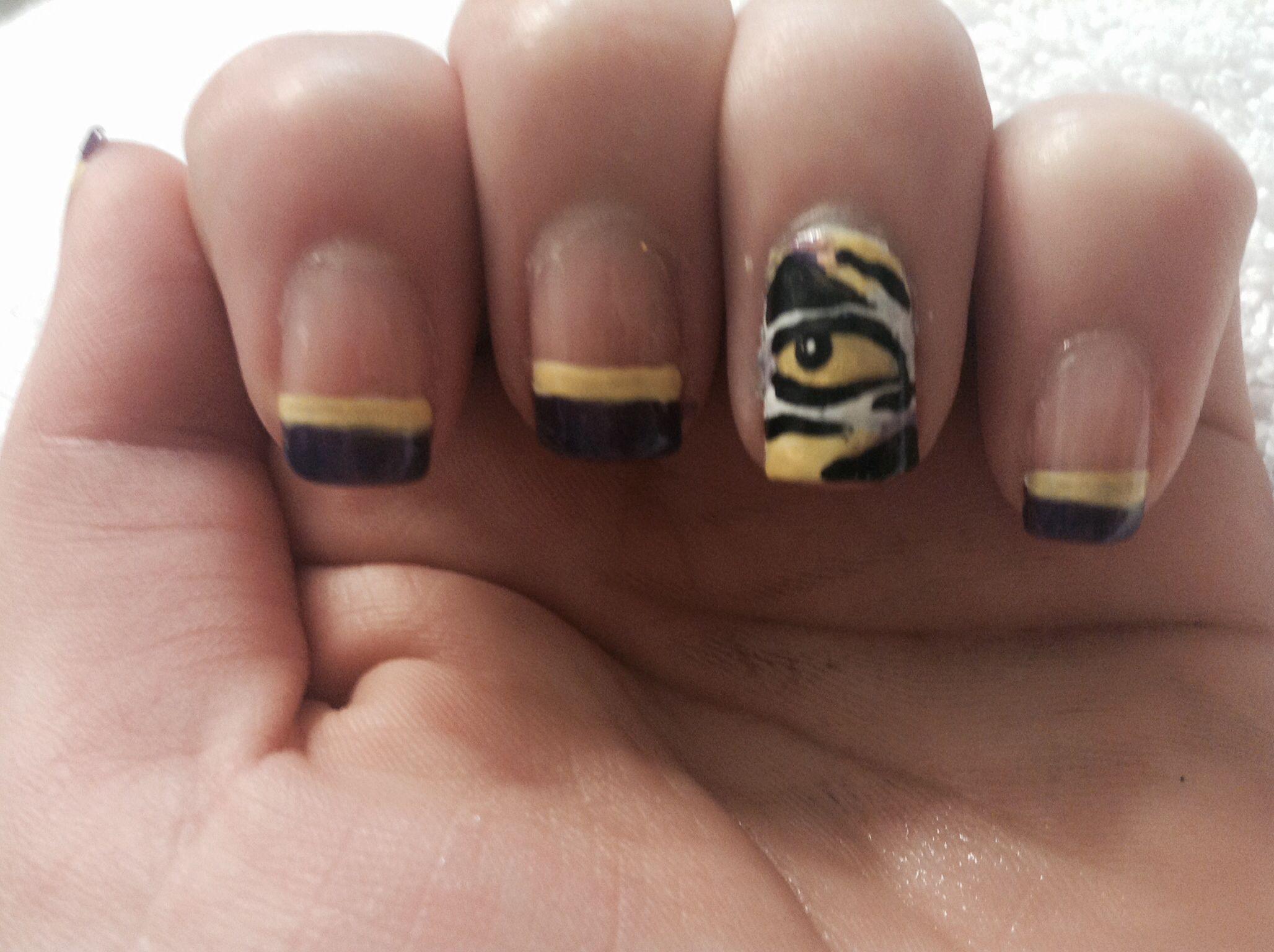 LSU nails | Nail art | Pinterest | Tiger nails and Makeup