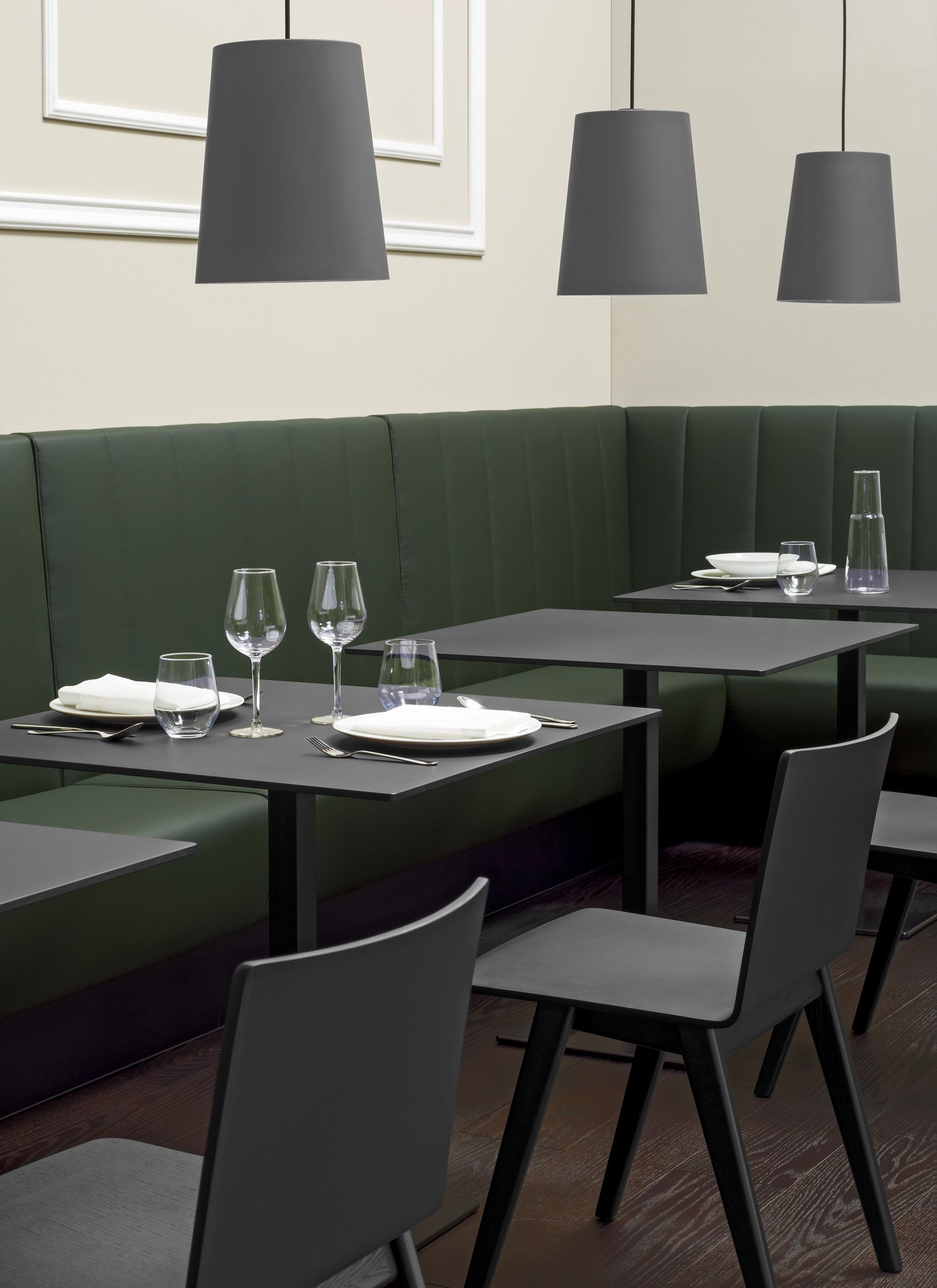 Saka Black Wood Cafe Chair And Inox Cafe Table / ORDER NOW FROM SPACEIST