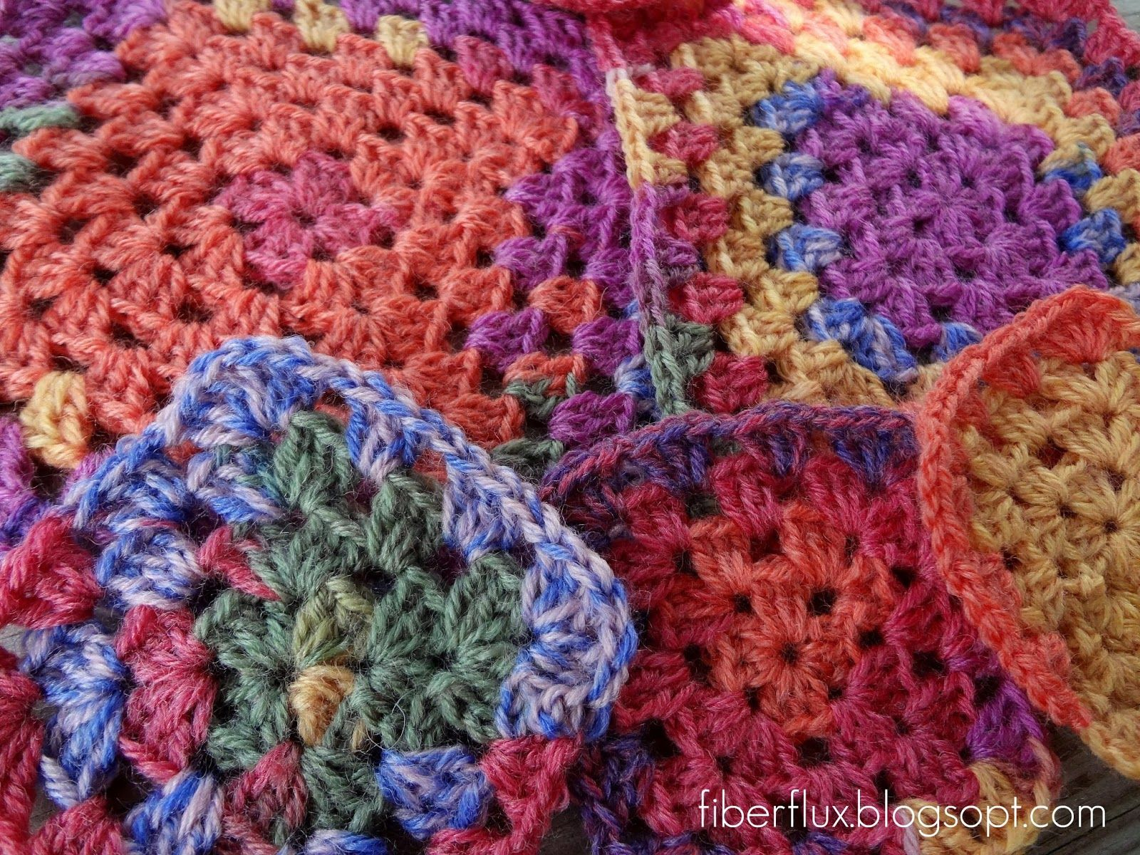 Variegated Yarn Granny Square Blanket Google Search Crochet