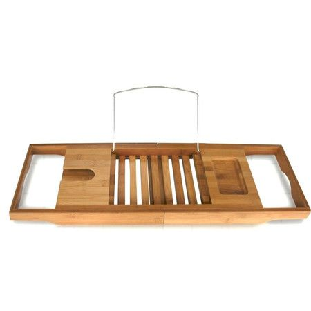 $39.99 Book holder, slide in stemware holder (for wine glass), soap holder. Found it at Wayfair - Bamboo Bathtub Caddy http://www.wayfair.com/daily-sales/p/Spa-Worthy-Bathroom-Updates-Bamboo-Bathtub-Caddy~TTH1003~E16703.html?refid=SBP.rBAZEVS38pS9YlqlLcdPAqY8MAVVDUvInN7JhCVcV44