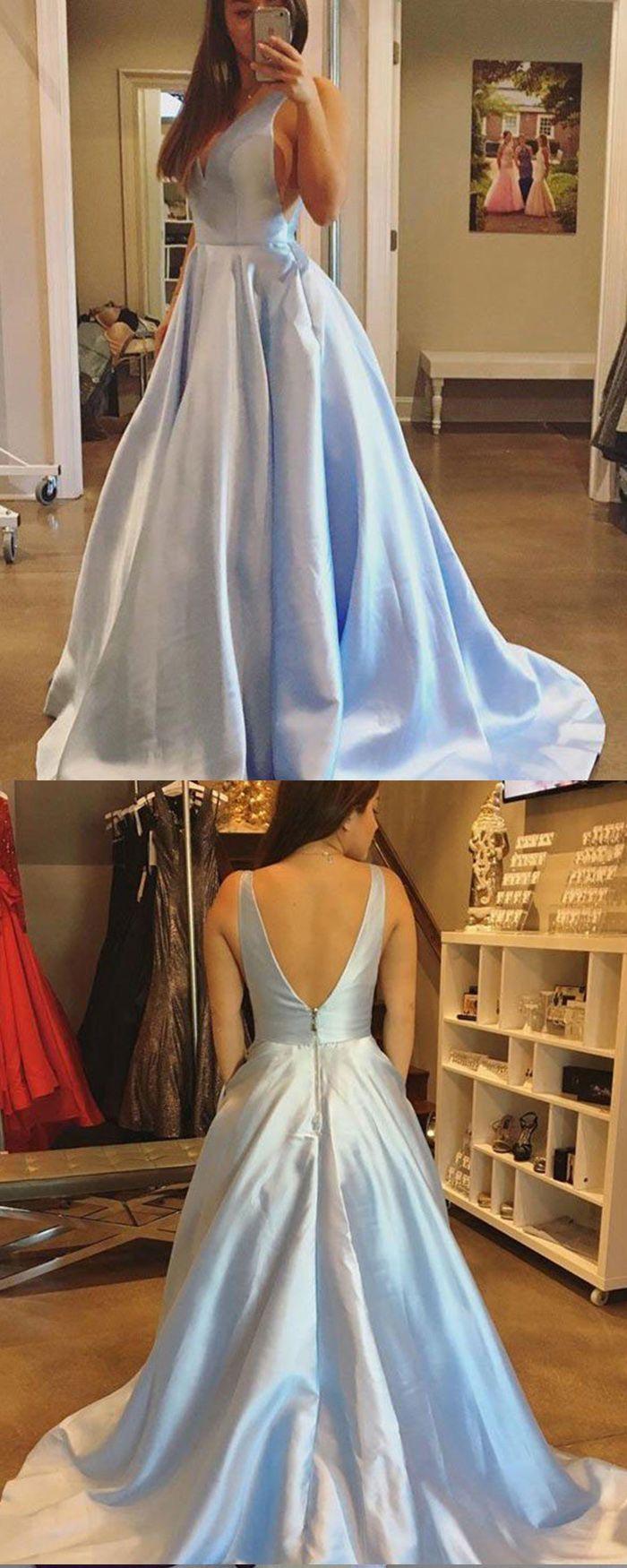 Simple vneck light blue satin ball gown prom dress pm long