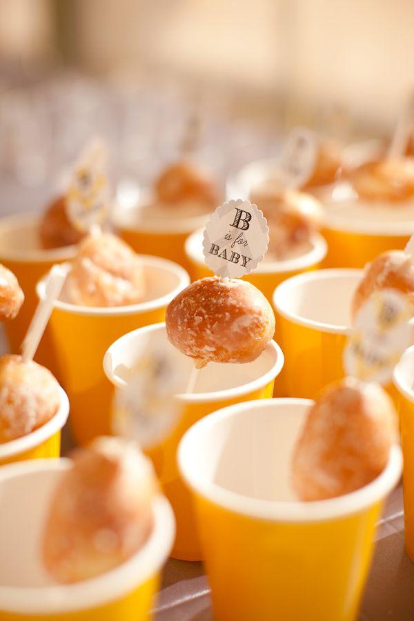 ideas for bridal shower brunch food%0A Doughnut holes on cute skewers in coffee or milk cups  Brunch idea   brunch