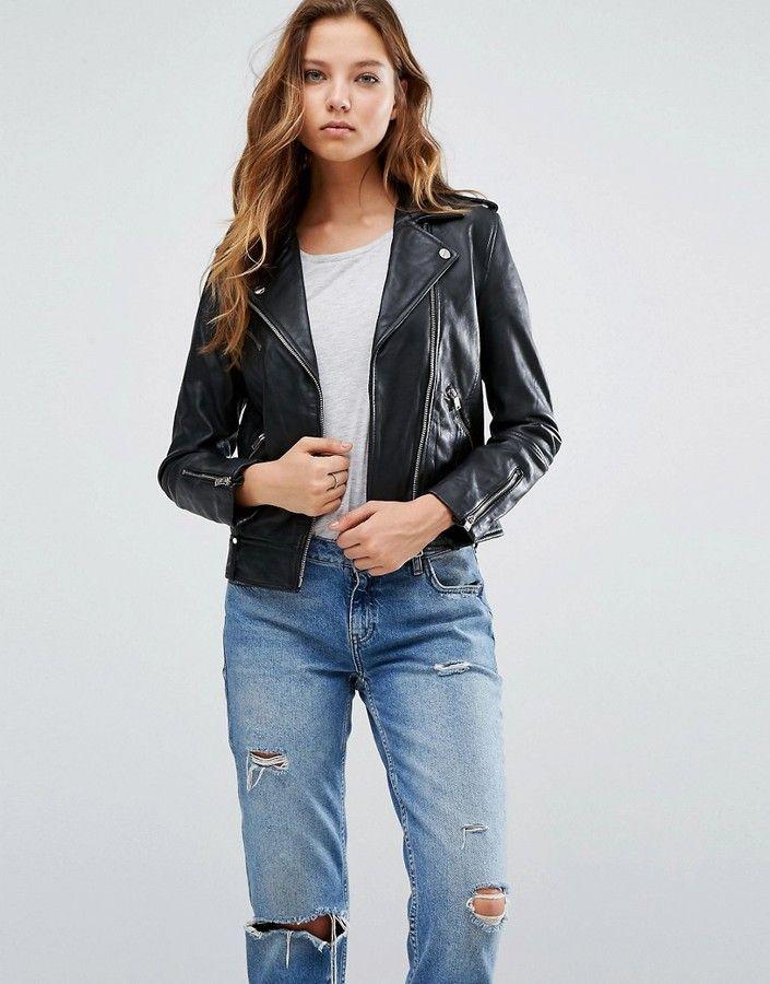 3170207e5 Mango Black Real Leather Biker Jacket | Women's Jackets | Studded ...