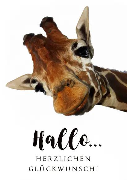 glückwunschkarte zum geburtstag mit giraffe