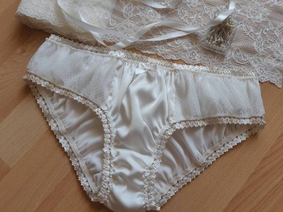 50579b18df97 Milk Silk Panties with Frill Handmade, Silk Knickers, Women Sleepwear, Silk  Sleepwear