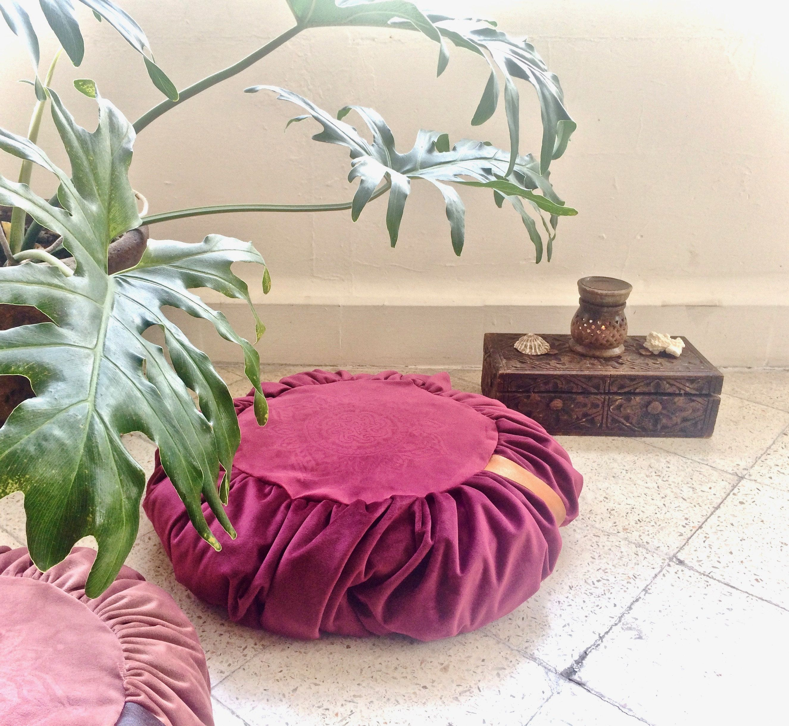 Round velvet floor cushion cover with a mandala for meditation and